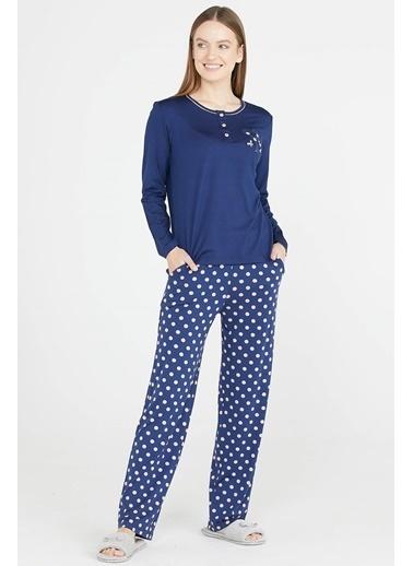 Sementa Pauantiye Desen Düğmeli Pijama Takımı - Lacivert Lacivert